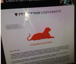 Princeton Acceptance Lettter